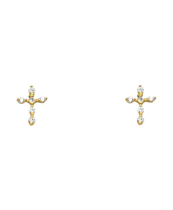 14k Yellow OR White Gold Cross Stud Earrings with Screw Back - CG1298UDRLN
