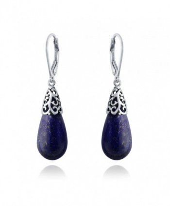 Bling Jewelry Dyed Lapis Lazuli Teardrop Filigree Drop Sterling Silver Leverback Earrings - CM12MA6GZET