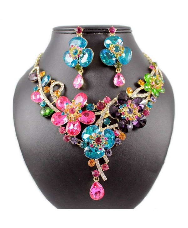 Janefashions DAISY MULTI-COLOR AUSTRIAN RHINESTONE CRYSTAL BIB NECKLACE EARRINGS SET N1706M - CS12EPPS987
