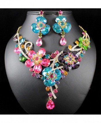 Janefashions MULTI COLOR AUSTRIAN RHINESTONE N1706M in Women's Jewelry Sets
