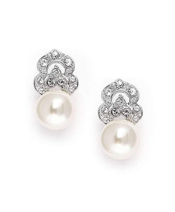 Mariell Clip On Pearl Bridal Earrings with Art Deco Vintage Wedding Style - Cream Pearls & Pave CZ Accent - CT11ZP6U6AJ