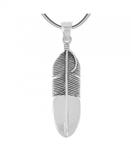 """Sterling Silver 925 Feather Necklace & Earrings Matching Set (Pendant- Earrings- Necklace 20"""") - C8185R2M0SM"""