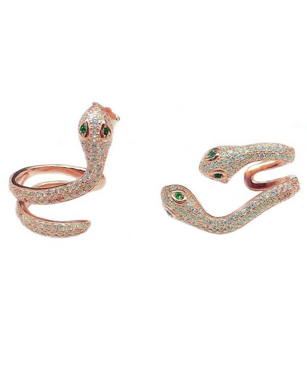 Helen de Lete Full Rhinestone Snake Sterling Silver Stud Earrings - C412K23AGJZ