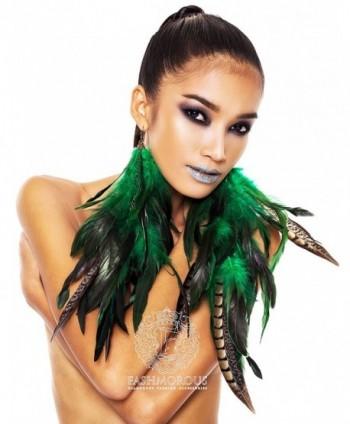 Feather Earrings Green Feather Earrings for Women Fancy Long Earrings for Women - CM12BE1AQ71