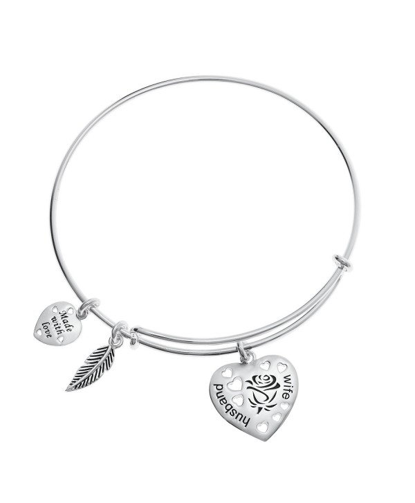 Sterling Silver Rose Husband & Wife Love Heart Feather Dangle Charm Family Adjustable Wire Bangle Bracelet - C712O89P5CO