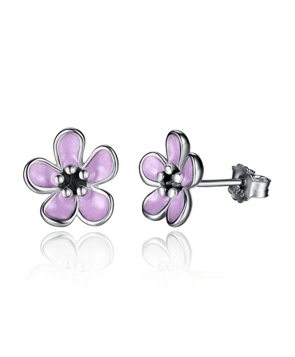 The Kiss Cherry Blossom Pink Enamel 925 Sterling Silver Stud Earrings - CF187W7S3CM