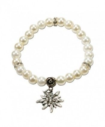 Bavarian Imitation Pearl Bracelet with small Edelweiss (white) - Traditional German Dirndl- Lederhose Jewelry - CT116FD767X