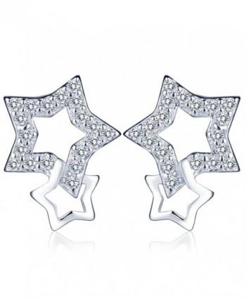 Infinite U Women's Fine Interlocking Stars Earrings 925 Sterling Silver Cubic Zirconia Ear Studs Earbob Silver - CC12KGUU05F