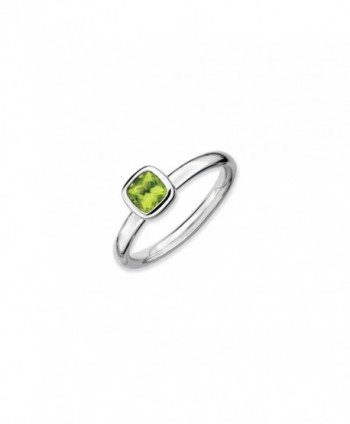 Silver Stackable Cushion Cut Peridot Solitaire Ring - CR118CS7NH7
