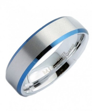 MJ 6mm White Tungsten Carbide Blue Plated Edges Wedding Ring - CU12NZ4I3E0