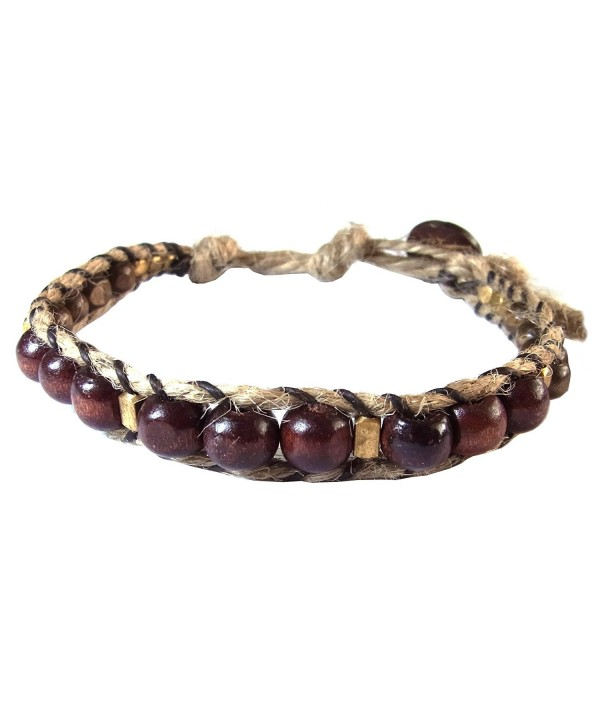 Thai Asian Fashion Handmade Adjustable Bracelet Hemp String Brass Wood Beads Brown Gold Wristband - CP12HUWNTI7