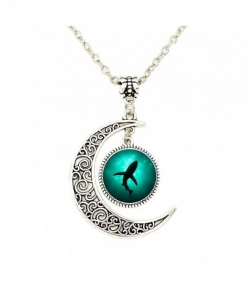 Liumart Crescent Moon Pendant Necklace Ocean Shark Shadow in the Sea Pendant Best Friend Jewelry Gifts - CI12HNKRA7V
