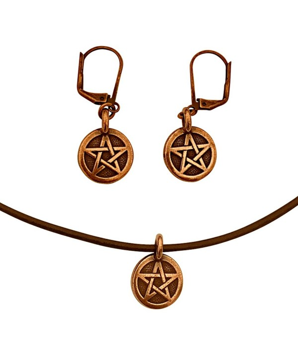 DragonWeave Pentagram Circle Charm Necklace & Earring Set- Antique Copper Brown Leather Adjustable - CD182GW0XCQ