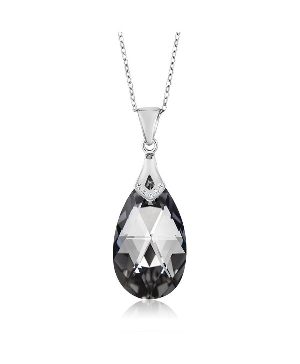 Nirano Collection Silver Night Teardrop Pendant Created with Swarovski Crystals - CT12O2VAAVD