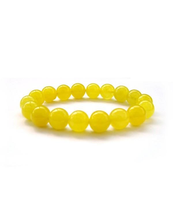 10mm Yellow Stone Beads Yoga Meditation Wrist Japa Mala Rosary Bracelet - CV117PUN7AJ