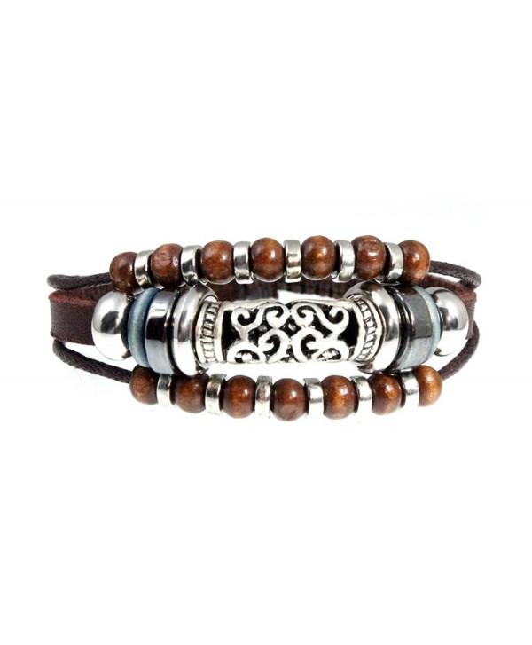 Stylish Swirl Leather Bracelet Adjustable - CH114XRQM23