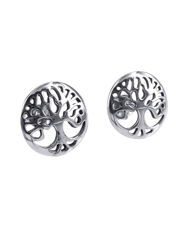 Flourishing Tree of Life .925 Sterling Silver Stud Earrings - CJ11HU484TP