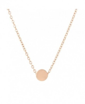 Lureme Stainless Steel Tiny Dot Necklace Ball Pendant Collar Necklace (nl005625) - Rose Gold - CL18530IMSD