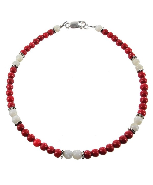 Womens Red Dolomite- Mother of Pearl & Sterling Silver Ladies Beaded Gemstone Anklet with Daisies - CL11BBMQF8T