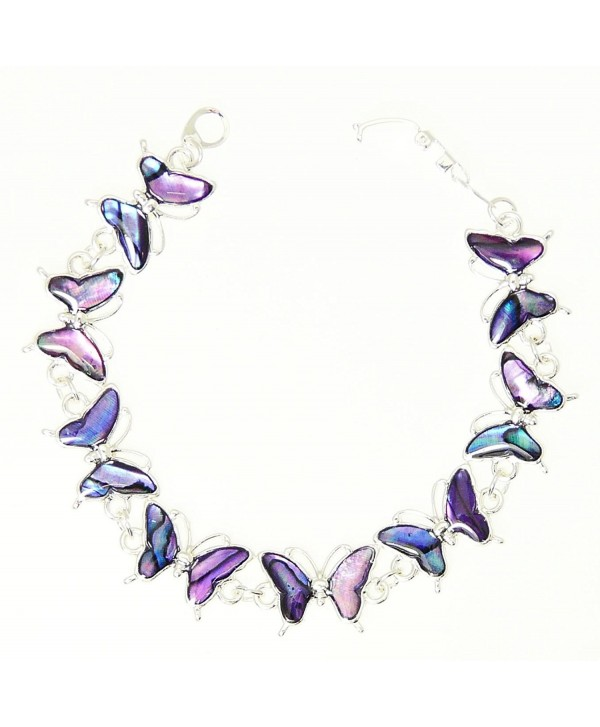 Beautiful Purple Abalone Paua Shell Butterfly Silver Colour Bracelet In Gift Box - D - CE116DY4JSD
