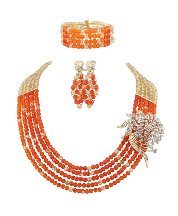 Ellenjewelry Orange African Beads Jewelry Sets Nigerian Wedding Jewelry Sets(C-1190) - CV11VCZB6DT