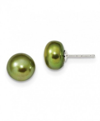 Sterling Silver 10-10.5mm Freshwater Cultured Button Pearl Green Earrings. (0.4IN x 0.3IN ) - C6119CBGF7H