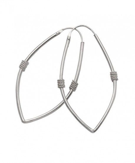 Sterling Silver Spear Head Shaped Endless Hoop Earrings - C711DJPW0YT