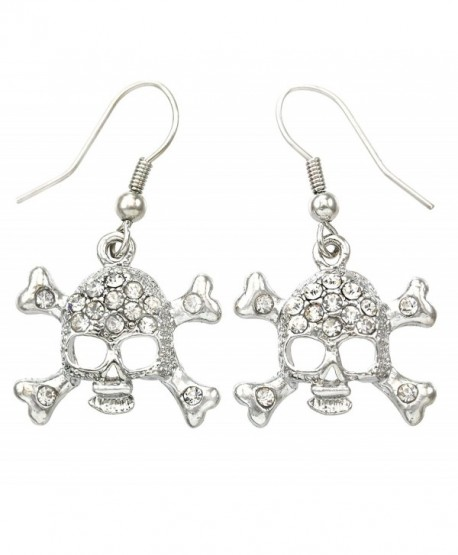 White Clear Skull Earrings Cross Bones Crossbones Hoop Dangle Clear Rhinestones Fashion Jewelry - CS119U4LGVB