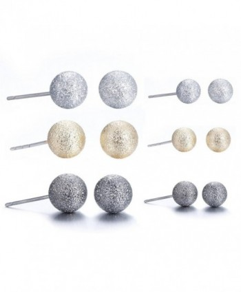 Lureme Classic 6 Pairs Triple Tones(Silver Gold Gunmetal) Matte Ball Stud Earrings Set (er005463) - C9182ZNQ046