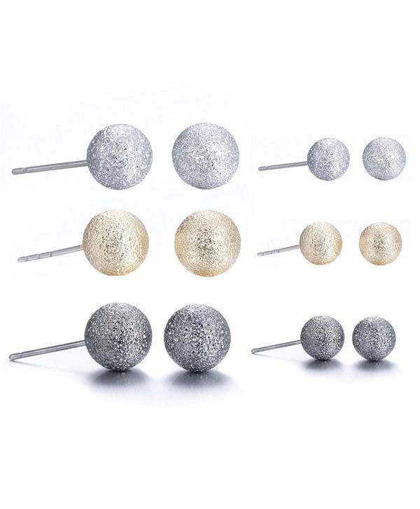 Lureme Classic 6 Pairs Triple Tones(Silver Gold Gunmetal) Matte Ball Stud Earrings Set (er005463) - C9182ZNQ046