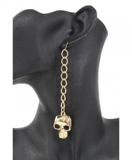 TFJ Women Fashion Hook Earrings Set Extra Long Gold Metal Skull Charm Dangle Skeleton Drop - CC128PJNB7X