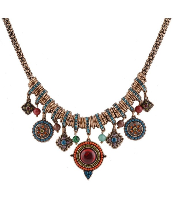 Bohemian Enamel Multicolor Round Pendants Vintage Rhinestone Ethnic Necklace For Women - Vintage - C718565Y7MR