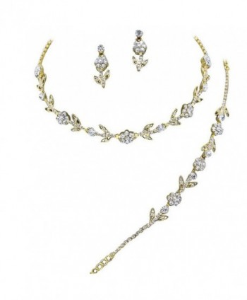Elegant 3 Piece Gold Crystal Bridesmaid Bridal Necklace Earring Bracelet Set Wedding Bling Gold M1 - CE11OLTEN9H