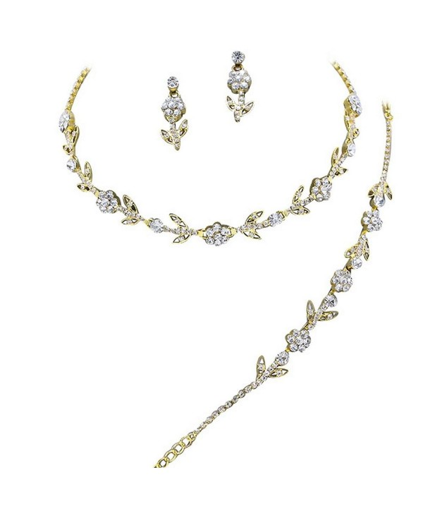 Elegant 3 Piece Gold Crystal Bridesmaid Bridal Necklace Earring Bracelet Set Wedding Bling M1 Ce11olten9h