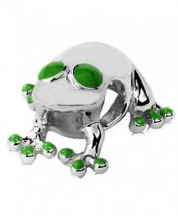 Sterling Silver Lucky Frog Bead Charm with Green Enamel Accent - C2116ENXFAZ