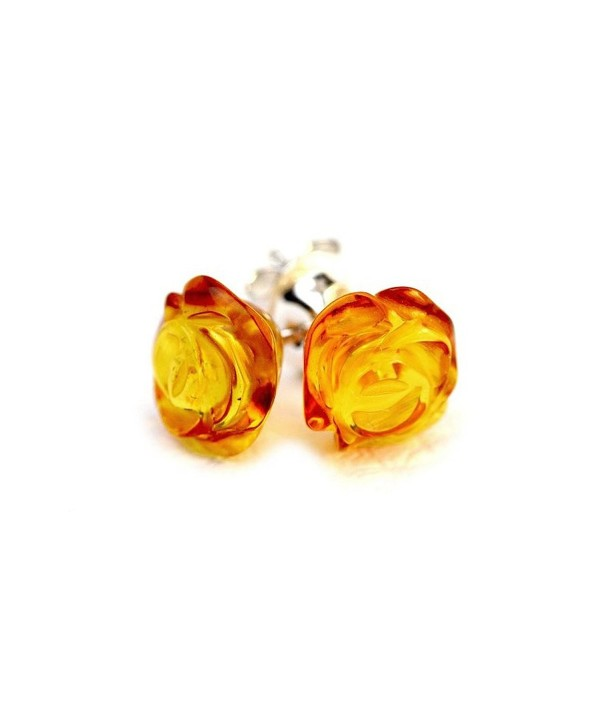 925 Sterling Silver Stud Amber Earrings Rose with Genuine Natural Baltic Amber - Honey - CW11UGEUE5D