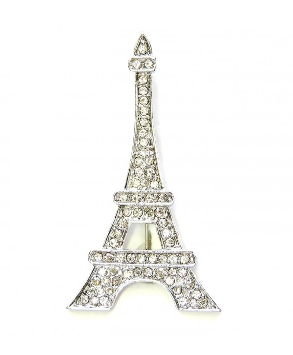 Faship Gorgeous Clear Crystal Paris Eiffel Tower Pin Brooch - CN11S51HRQX