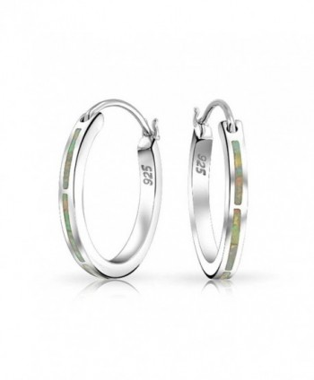 Bling Jewelry Small .925 Silver Synthetic White Opal Hoop Earrings Rhodium Plated - C811J1ZIL6R