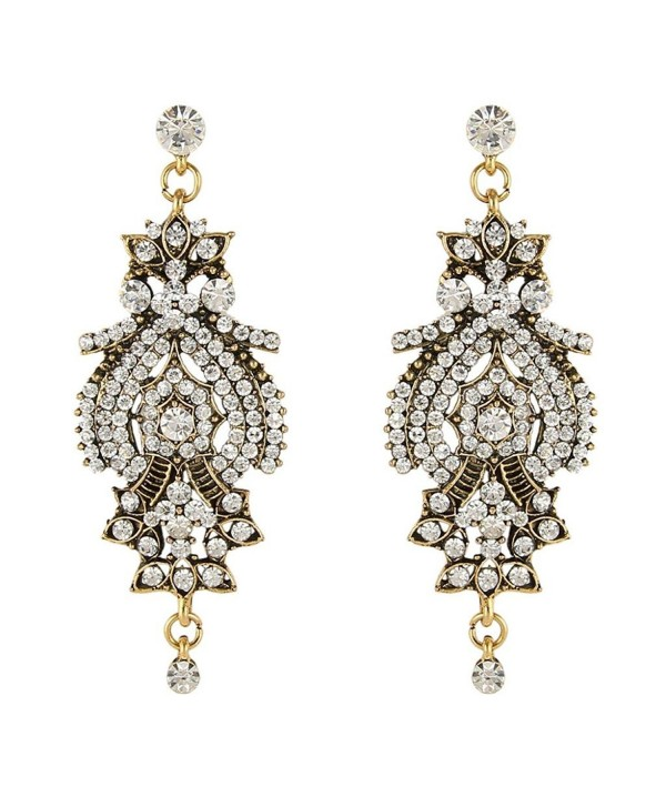 BriLove Women's Vintage Inspired Crystal Floral Chandelier Pierced Dangle Earrings Antique Gold-Tone Clear - CA11SZHCLWH