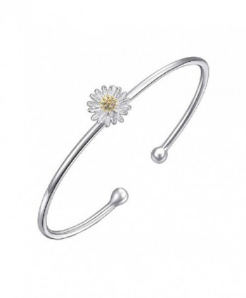 925 Siver Plated Genuine Dasiy Golden Sunflower Women Cuff Bracelet-60MM - CH12NV76S65
