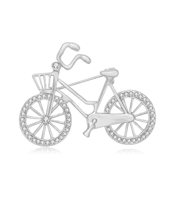 SENFAI Sports Style Gold Color Bike and Bicycle Brooch for Sportsperson - CZ1852TC3OK