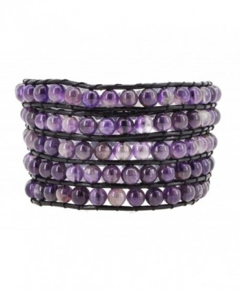 Womens Leather Simulated Amethyst Leather Wrap Bracelet - CA1256RVYR1