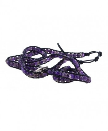 Womens Leather Simulated Amethyst Bracelet in Women's Wrap Bracelets