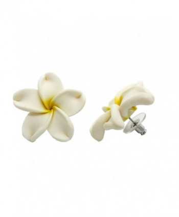 "Hawaiian Jewelry Fimo White Plumeria Flower Earrings - 3/4"" - CT116IG3RCP"