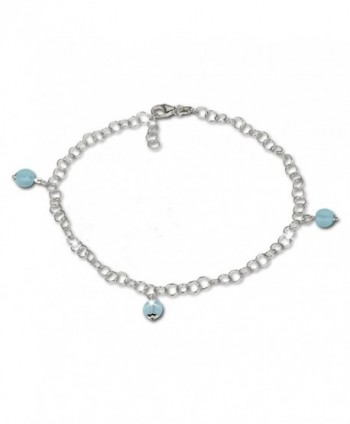 SilberDream anklet with tiny blue frosted glass beads- 925 Sterling Silver 9.8 inch SDF011H - C4119YURAQF
