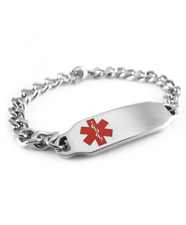 MyIDDr - Pre-Engraved & Customizable Autism Medical ID Bracelet- Wallet Card Incld- Red Symbol - CN114IPD32H