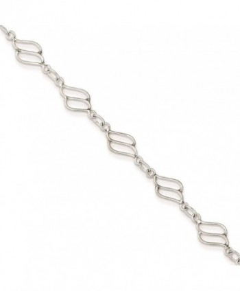925 Sterling Silver Polished Fancy Link Design Bracelet Anklet 10 inches - CM11FW4APKZ