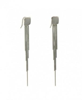 925 Sterling Silver Long Chain Tassel Fringe Earrings Fishhook - C717Z7M6TMZ
