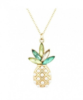 Lux Accessories Gold Tone Pearl Multi Green Stone PIneapple Pendant Necklace - CW182HSAOHI