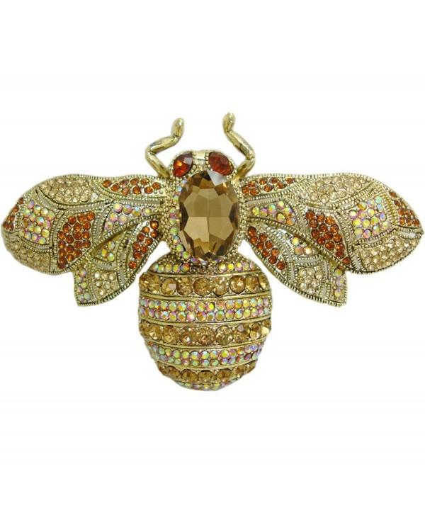 TTjewelry Charming Bee Insect Brooch Pin Austria Crystal Rhinestone - Brown - CU12DFQOYL3